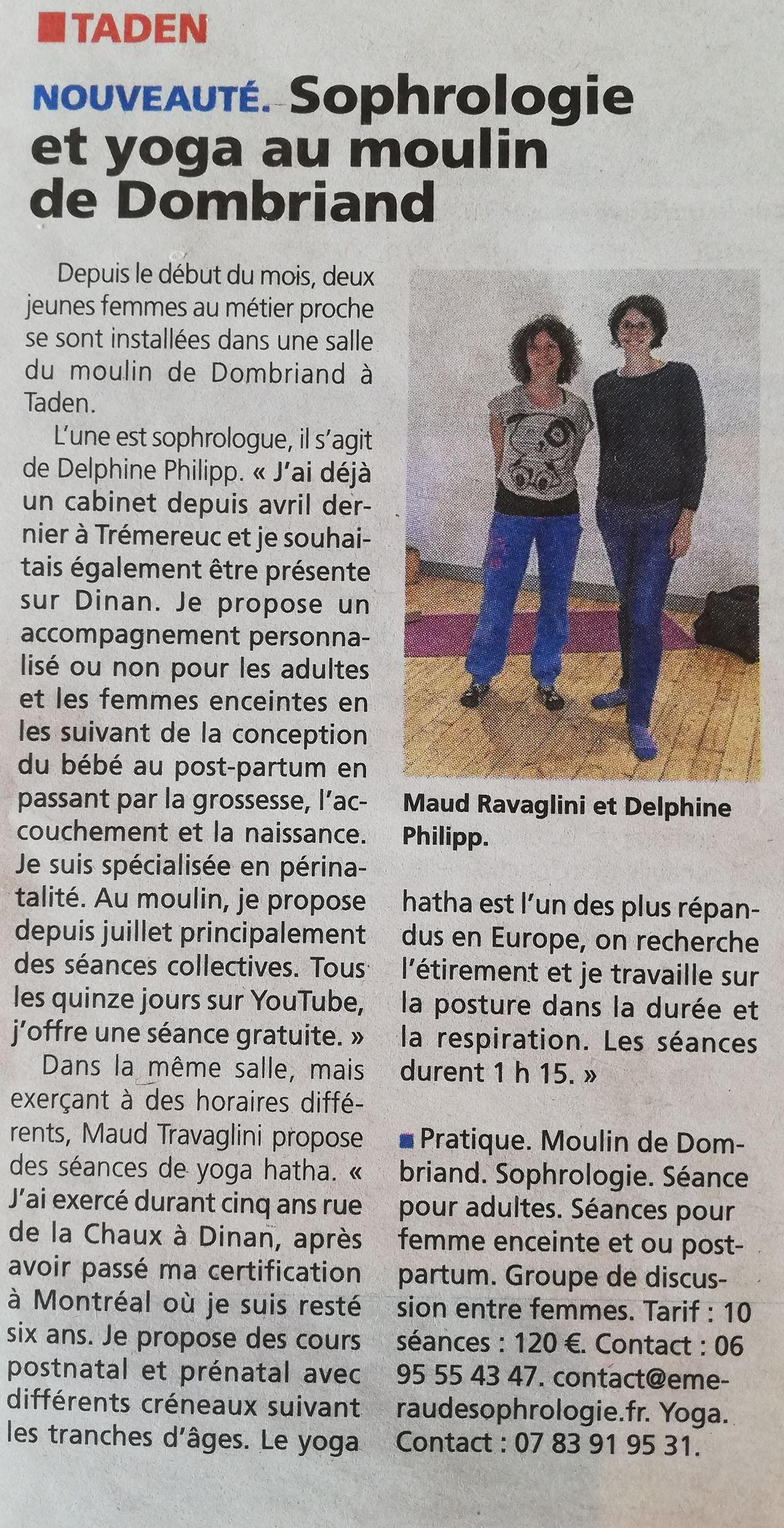 article Le Petit Bleu séance collective à Taden Emeraude Sophrologie